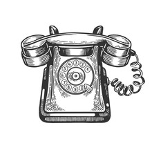 Old Rotary Dial Phone Engraving Vector Illustration. Scratch Board Style Imitation. Black And White Hand Drawn Image.