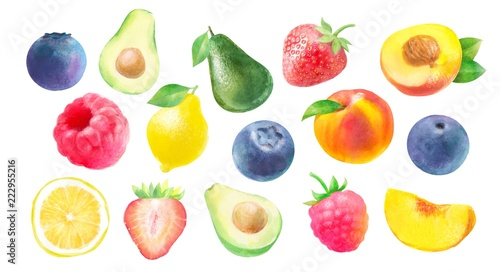watercolor illustration of fruits and berries: strawberry, raspberry, peach, blueberry? avocado and lemon, isolated drawings by hand on white background