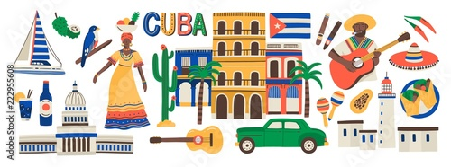 Collection of Cuba attributes isolated on white background - musical instruments, Cuban rum, flag, building, sombrero hat, chili pepper Wallpaper Mural