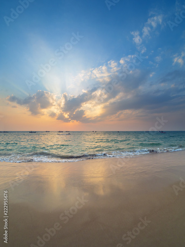 Spoed Foto op Canvas Zee zonsondergang Coast of the Andaman sea at colorful sunset, Khao Lak