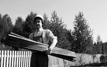 Man In Worker's Clothes Black And White