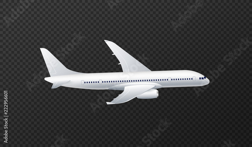 Vector illustration of white passenger airliner isolated on transparent backgrou Canvas Print
