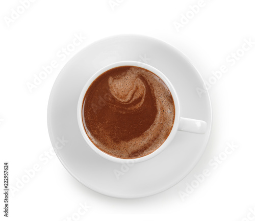Canvas Prints Chocolate Cup of hot chocolate on white background