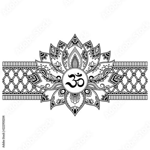 Mehndi Lotus Flower Pattern With Mantra Om Symbol And Border For