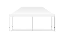 Empty Rectangular Outdoor Canopy Tent Mockup - Front View. Vector Illustration