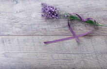 Festive Flower Composition With Ribbon, Lavender On Wooden Background, Rustic Style. Overhead Top View, Flat Lay. Copy Space. Birthday, Mother's, Valentines, Women's, Wedding Day Concept