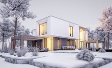 3d Rendering Of Modern Cozy Ho...