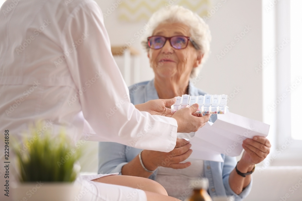 Fototapeta Doctor giving medicine and instruction to senior woman at home