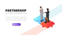 Businessman Handshake On Puzzle. Partnership Concept. Isometric 3d Vector Illustration.