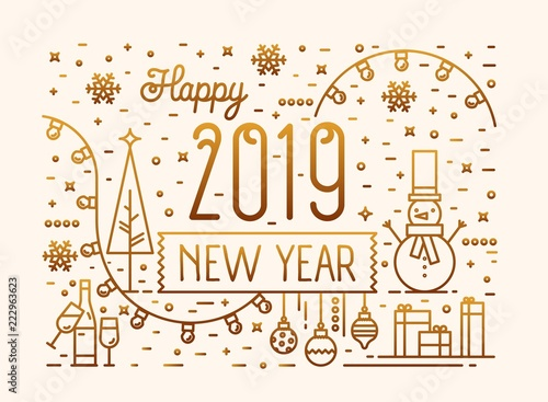 Fotografía  Happy New 2019 Year horizontal banner, greeting card, postcard template with festive decorations, snowman and baubles drawn with golden lines on light background