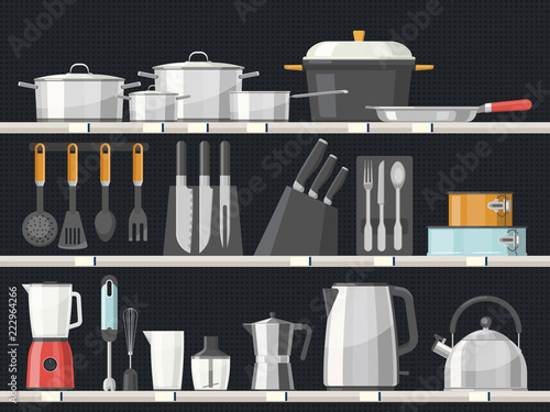 Kitchen accessory or kitchenware at shelves