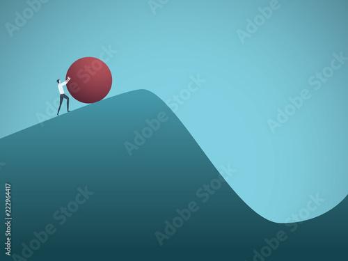Fotografia Businessman pushing boulder uphill vector concept of Sisyphus