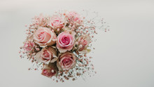 Bunch Of Pink Roses Top View