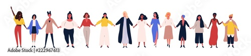 Happy women or girls standing together and holding hands. Group of female friends, union of feminists, sisterhood. Flat cartoon characters isolated on white background. Colorful vector illustration.