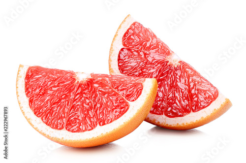 Two perfectly retouched grapefruit slices