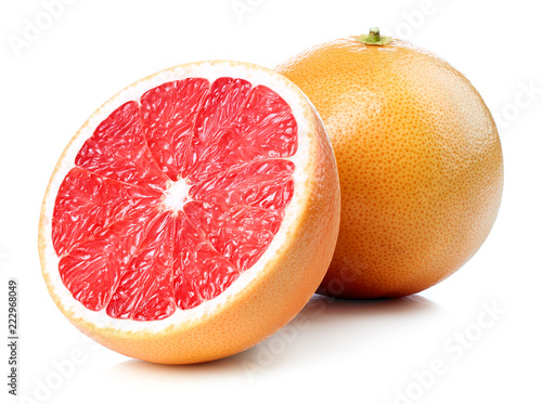 Whole and half of grapefruit