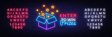 Enter To Win Prizes Neon Sign Vector. Gift Neon Sign, Design Template, Modern Trend Design, Night Neon Signboard, Night Bright Advertising, Light Banner, Light Art. Vector. Editing Text Neon Sign