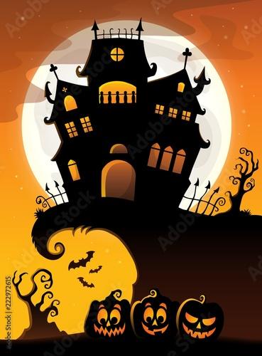 Spoed Foto op Canvas Voor kinderen Halloween house silhouette theme 3