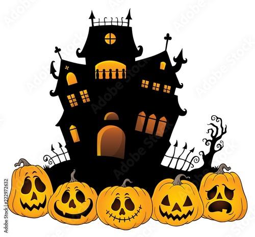 Spoed Foto op Canvas Voor kinderen Halloween house silhouette theme 4
