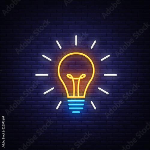Light Bulb neon sign vector Canvas Print