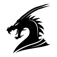 Sign of a black dragon on a white background.