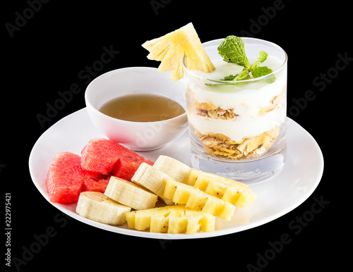 Tuinposter Buffet, Bar Muesli, fresh fruits and honey isolated on black background