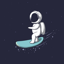 Cute Astronaut Rides On Surfboard Through The Universe.Space Vector Illustration.Prints Design