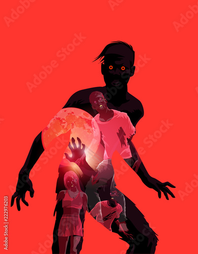 Fleshing eating dead zombie silhouette with double exposure effect Canvas Print
