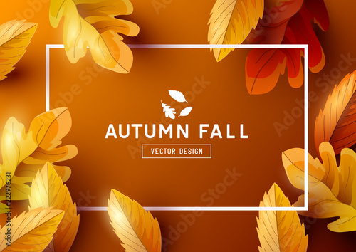 Foto op Canvas Hoogte schaal Autumn Frame Background Top View