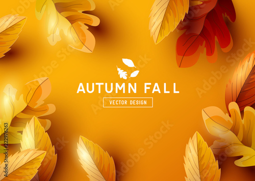Fototapeta Autumn Vector Background with Falling Leaves obraz