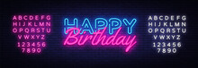 Happy Birthday Neon Sign Vecto...