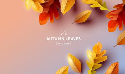 Fototapeta Falling Autumn Leaves Background Elements