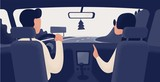 Pair of people sitting on front seats of car moving along highway. Automobile driver and passenger, back view. Road journey, ride, trip. Trendy colorful vector illustration in modern cartoon style.