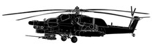Vector Sketch Of Mi-28 Havoc Military Helicopter