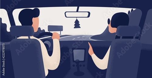 Tuinposter Cartoon cars Pair of people sitting on front seats of car moving along highway. Automobile driver and passenger, back view. Road journey, ride, trip. Trendy colorful vector illustration in modern cartoon style.