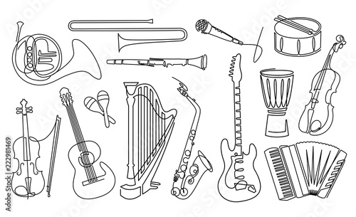 Continuous line drawing of Musical instruments linear icons set. Orchestra equipment
