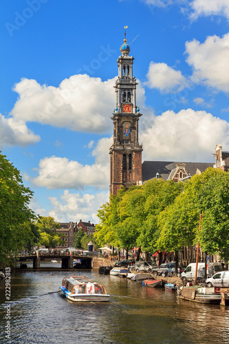 Canalboat tour at the UNESCO world heritage Prinsengracht canal with the Westerk Fototapete