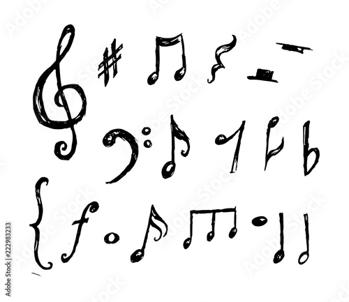 Obraz Hand drawn music notes collection vector - fototapety do salonu