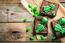 Halloween Style Party Sweet - Brownie With Green Skeleton And Bones, Rustic Background