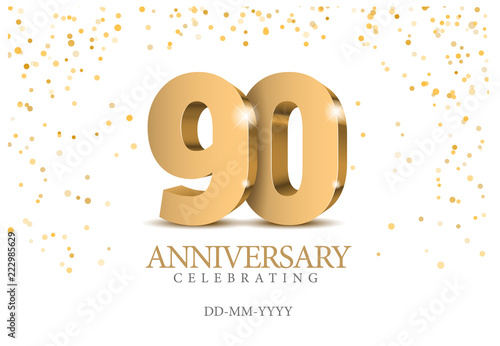 Anniversary 90. gold 3d numbers. Canvas-taulu