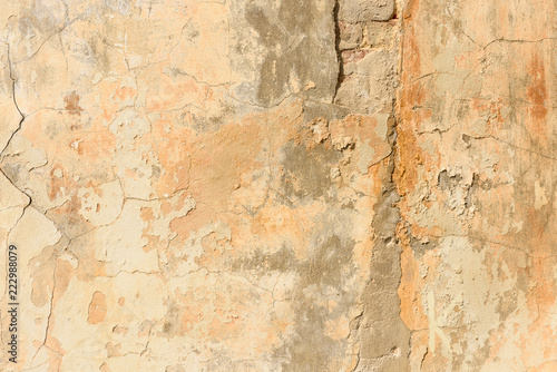 Foto auf AluDibond Alte schmutzig texturierte wand texture of old peeling yellow plaster