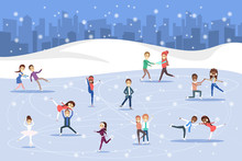 Cute Romantic Couples Skate Together Outdoors. Winter Activity