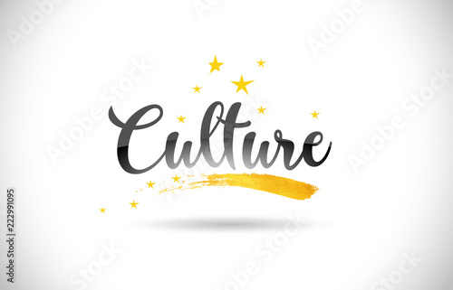 Photographie Culture Word Vector Text with Golden Stars Trail and Handwritten Curved Font
