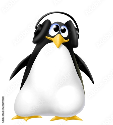 Fototapeta premium pinguino con le cuffie