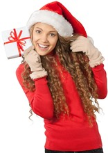 Young Woman In Santa Hat Holding Present - Isolated