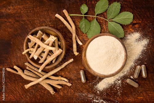 Ashwagandha superfood powder and root. Fototapeta