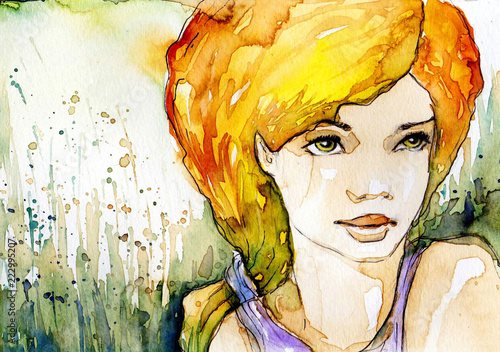 Tuinposter Schilderkunstige Inspiratie Watercolor illustration, portrait of a woman.