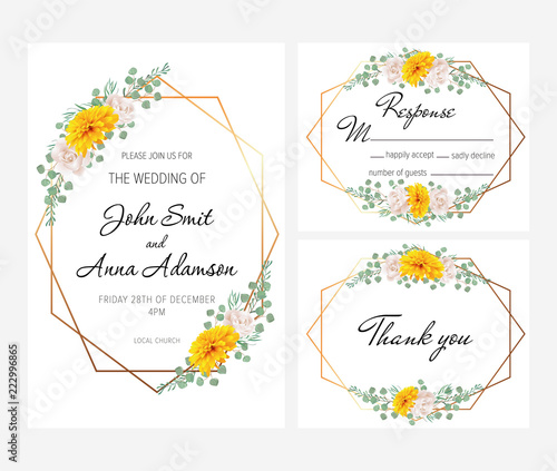 Beautiful Geometric Wedding Invitation Set With Yellow Chrysanthemum
