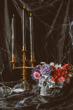 Hourglass, Silver Skull With F...