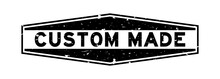 Grunge Black Custom Made Word Hexagon Rubber Seal Stamp On White Background